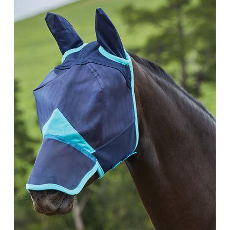 Weatherbeeta Comfitec Fine Mesh Mask - Ears and Nose - Navy/Turquoise