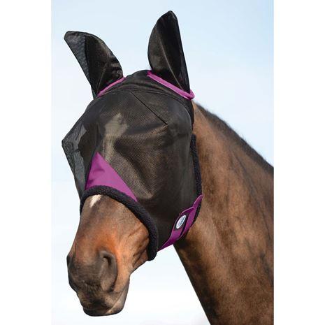 Weatherbeeta Comfitec Durable Mesh Masks - Ears cover - Black/Purple