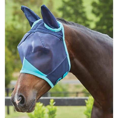 Weatherbeeta Comfitec Fine Mesh Mask- Ears - Navy/Turquoise