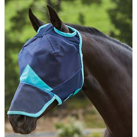 Weatherbeeta Comfitec Fine Mesh Mask -  Nose - Navy/Turquoise