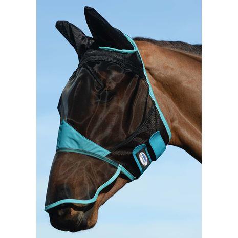 Weatherbeeta Comfitec Fine Mesh Mask- Ears and Nose - Black/Turquoise