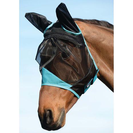 Weatherbeeta Comfitec Fine Mesh Mask- Ears - Black/Turquoise