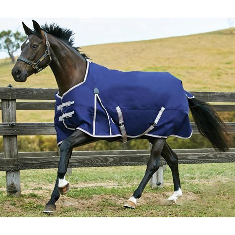 WeatherBeeta Comfitec Essential Standard Neck Lite Weight Plus Turnout Rug - Worn in the Field - Navy/Silver/Red