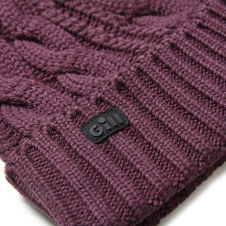 Gill Cable Knit Beanie - Fig - Detail