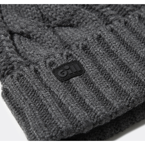 Gill Cable Knit Beanie - Graphite Melange