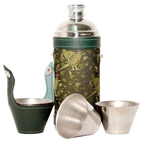 Bisley Pheasant Green Hunters Flask & Cup Set