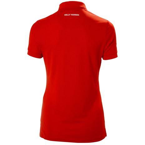Helly Hansen Womens Crewline Polo Shirt - Flag Red - Rear