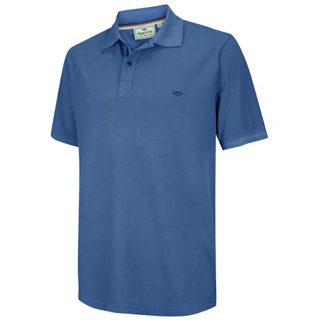 Hoggs of Fife Anstruther Washed Polo Shirt - Cobalt Blue