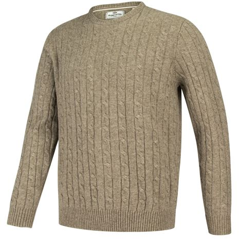 Hoggs of Fife Jedburgh Crew neck Cable Pullover - Oatmeal