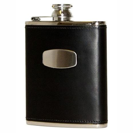 6oz Black Leather Flask by Bisley