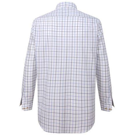 Hoggs of Fife Viscount Premier Tattersall Shirt - White , Navy Check
