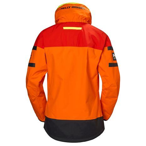 Helly Hansen Womens Skagen Offshore Jacket - Blaze Orange - Rear