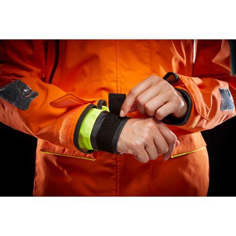 Helly Hansen Womens Skagen Offshore Jacket - Blaze Orange - Cuff detail