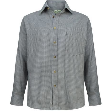 Hoggs of Fife Pure Cotton Pin Check Shirt - Blue / Grey Pin Check