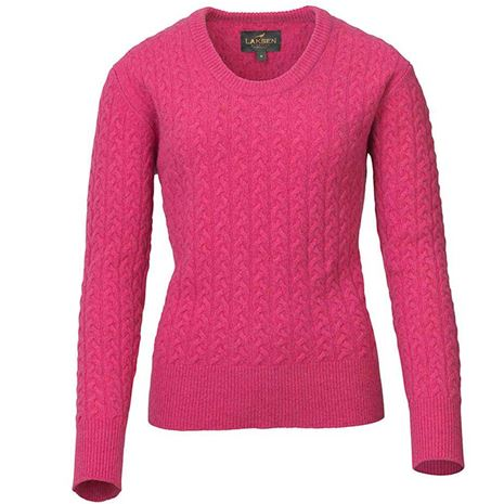Laksen Burleigh Ladies Lambswool Cable Knit - Cherry