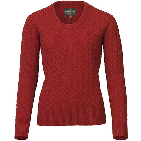 Laksen Burleigh Ladies Lambswool Cable Knit - Winy