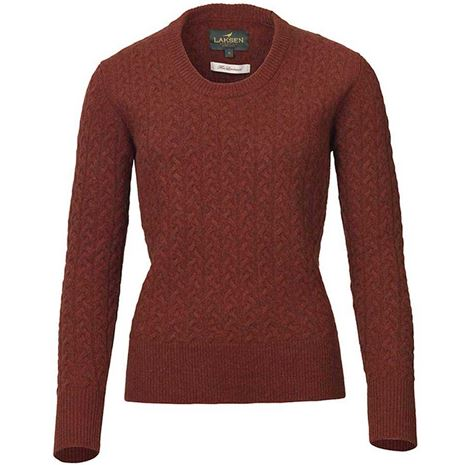 Laksen Burleigh Ladies Lambswool Cable Knit - Rusty
