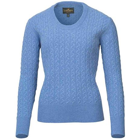 Laksen Burleigh Ladies Lambswool Cable Knit - sky