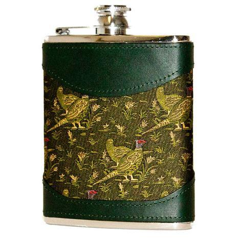 Bisley 6oz Green Pheasant Fabric & Leather Flask