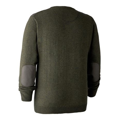Deerhunter Sheffield Knit V-Neck Jumper  - Green Melange