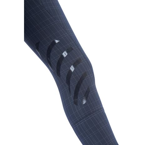 Dublin Prime Gel Knee Patch Breeches - Navy Plaid - Knee Detail