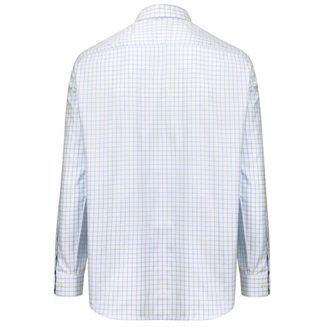 Hoggs Of Fife Turnberry Cotton Twill Shirt - White  - Pale Blue