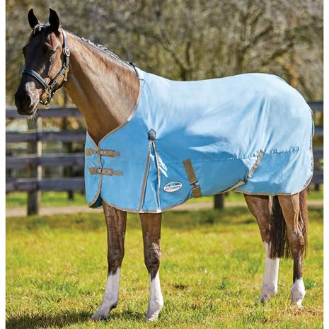 WeatherBeeta Comfitec Classic Stand Neck Lightweight Turnout Rug - Light Blue/Taupe