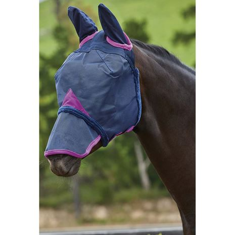 Weatherbeeta Comfitec Durable Mesh Masks - Ears and Nose cover - Navy/Purple