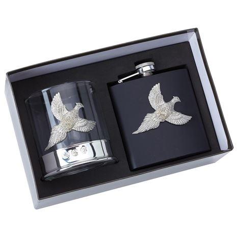 Bisley Glass & Flask Gift Set - Pheasant