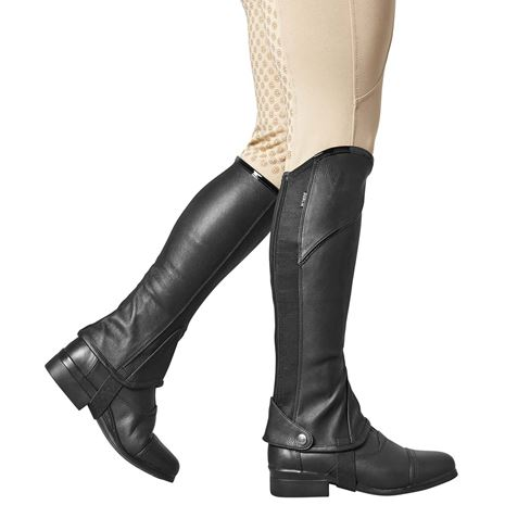 Dublin Stretch Fit Half Chaps - Black with Patent Piping
