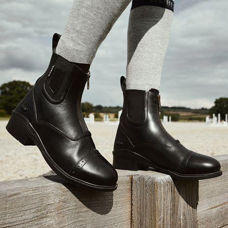 Dublin Evolution Zip Front Paddock Boots - Black - Arena View