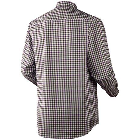 Harkila Milford Cotton Checked Shirt - Rear Blackberry Check