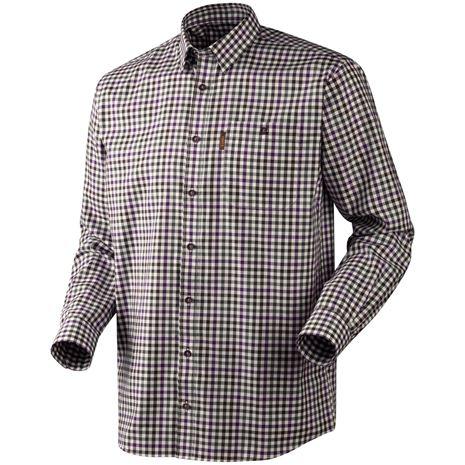 Harkila Milford Cotton Checked Shirt - Blackberry Check