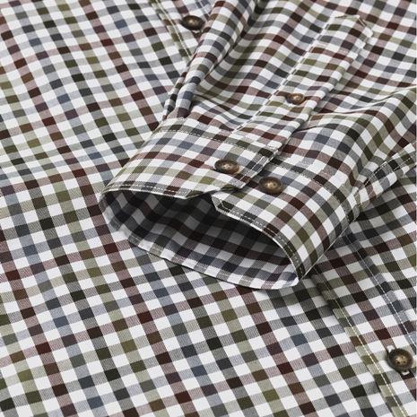 Harkila Milford Cotton Checked Shirt - Burgundy - Bungundy Check