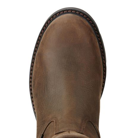 Ariat Men's Groundbreaker Pull On H2O Boots - Dark Brown - Toe Detail