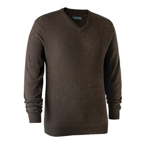 Deerhunter Kingston Knit V-Neck Jumper - Dark Elm
