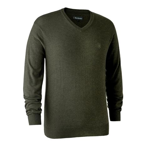 Deerhunter Kingston Knit V-Neck Jumper - Green Melange