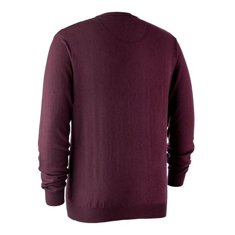 Deerhunter Kingston Knit V-Neck Jumper - Burgundy