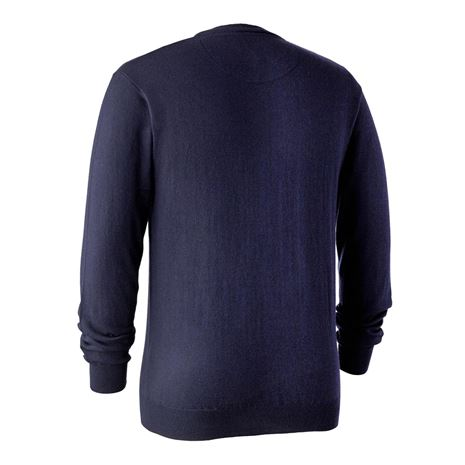Deerhunter Kingston Knit V-Neck Jumper  - Dark Blue