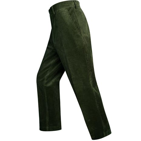 Hoggs of Fife Heavyweight Cord Trousers - Dark Olive - Action