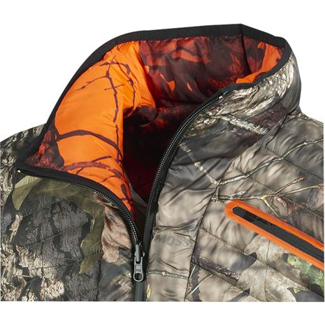 Harkila Moose Hunter Reversible Waistcoat - Detail - Mossy Oak Break-up Country /Mossy Oak Orange Blaze