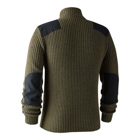 Deerhunter Rogaland Knit with Zip neck - Green - Rear