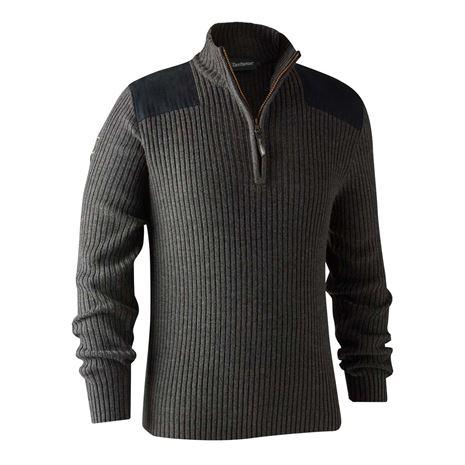 Deerhunter Rogaland Knit with Zip neck - Dark Grey