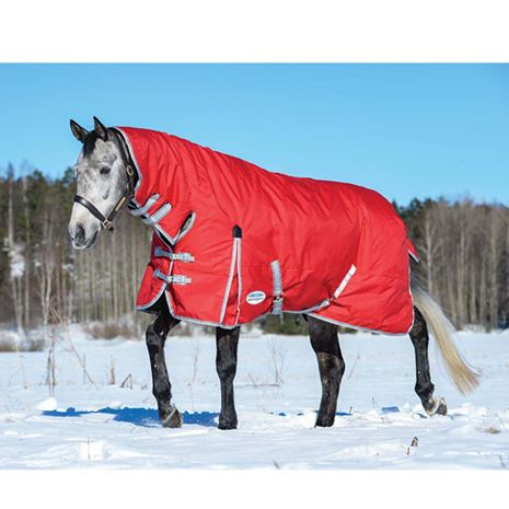 WeatherBeeta Comfitec Classic Combo Neck Lightweight Turnout Rug - Red/Silver/Navy
