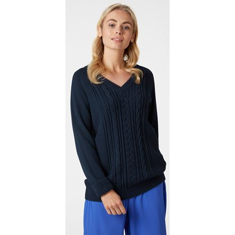 Helly Hansen Womens Fjord Cable Knit  Jumper - Navy