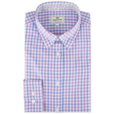 Hoggs of Fife Becky II Ladies Cotton Shirt - Blue-Pink