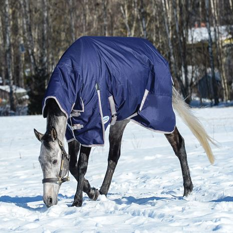 WeatherBeeta Comfitec Essential Combo Neck Medium Weight Turnout Rug - Navy/Silver/Red