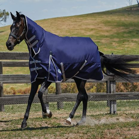 WeatherBeeta Comfitec Essential Combo Neck Heavy Weight Turnout Rug - Navy/Silver/Red