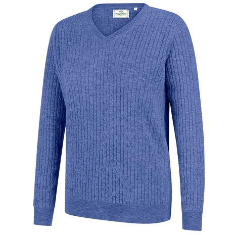Hoggs of Fife Lauder Ladies Cable Pullover - Violet