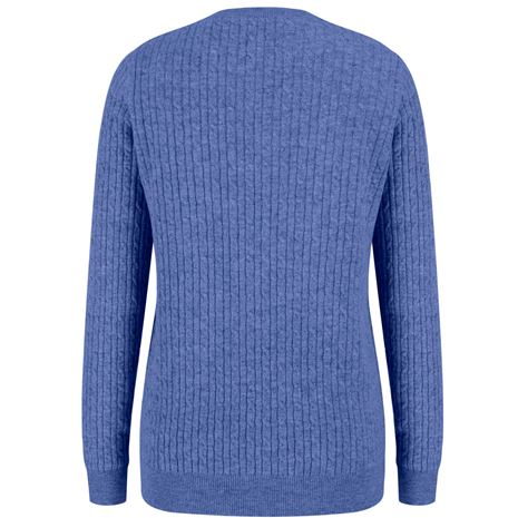 Hoggs of Fife Lauder Ladies Cable Pullover- Violet